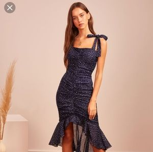 Finders Keepers Navy Speckle midi dress